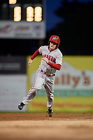 Auburn Doubledays center fielder Nick Choruby (4) runs the bases during a game against the Batavia Muckdogs on September 6, 2017 at Dwyer Stadium in Batavia, New York.  Auburn defeated Batavia 6-3.  (Mike Janes/Four Seam Images)