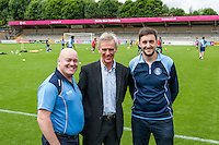 Commercial Director Damien Irvine (left) & Head of Media Matt Cecil (right) during the Open Training Session in front of supporters during the Wycombe Wanderers 2016/17 Team & Individual Squad Photos at Adams Park, High Wycombe, England on 1 August 2016. Photo by Jeremy Nako.