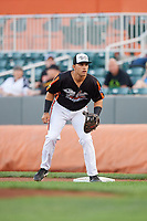 Aberdeen IronBirds first baseman J.C. Escarra (13) during a game against the Staten Island Yankees on August 23, 2018 at Leidos Field at Ripken Stadium in Aberdeen, Maryland.  Aberdeen defeated Staten Island 6-2.  (Mike Janes/Four Seam Images)