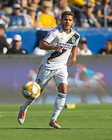 CARSON, CA - SEPTEMBER 29: Jonathan dos Santos #8 of the Los Angeles Galaxy moves to the ball during a game between Vancouver Whitecaps and Los Angeles Galaxy at Dignity Health Sports Park on September 29, 2019 in Carson, California.