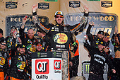 Monster Energy NASCAR Cup Series<br /> Hollywood Casino 400<br /> Kansas Speedway, Kansas City, KS USA<br /> Sunday 22 October 2017<br /> Martin Truex Jr, Furniture Row Racing, Bass Pro Shops / Tracker Boats Toyota Camry celebrates in victory lane <br /> World Copyright: Russell LaBounty<br /> LAT Images