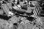 Blackpool Beach Lancashire Uk. 1970s.Family holiday 1970s England...