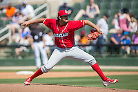 Lakewood BlueClaws relief pitcher Luis Morales (32) in action against the Kannapolis Intimidators at Kannapolis Intimidators Stadium on May 8, 2016 in Kannapolis, North Carolina.  The Intimidators defeated the BlueClaws 3-2.  (Brian Westerholt/Four Seam Images)