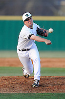 Pitcher Tresco Shannon (25) of the University of South Carolina Upstate Spartans delivers a pitchin a game against the College of Charleston Cougars on Tuesday, March 31, 2015, at Cleveland S. Harley Park in Spartanburg, South Carolina. Charleston won, 10-0. (Tom Priddy/Four Seam Images)