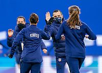 LE HAVRE, FRANCE - APRIL 13: Vlatko Andonovski of the USWNT welcomes his players to the field before a game between France and USWNT at Stade Oceane on April 13, 2021 in Le Havre, France.