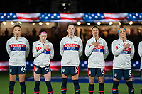 ORLANDO, FL - FEBRUARY 24: The USWNT stands for the national anthem before a game between Argentina and USWNT at Exploria Stadium on February 24, 2021 in Orlando, Florida.