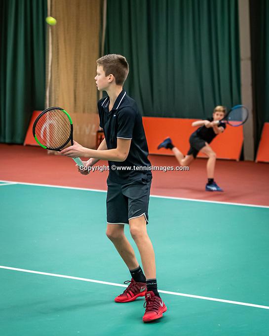 Wateringen, The Netherlands, December 15,  2019, De Rhijenhof , NOJK juniors doubles, final boys 12 years, Mees Röttgering (NED) and Hidde Schoenmakers (NED) (L)<br /> Photo: www.tennisimages.com/Henk Koster