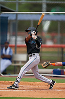 GCL Marlins Tevin Mitchell (4) at bat during a Gulf Coast League game against the GCL Mets on August 11, 2019 at St. Lucie Sports Complex in St. Lucie, Florida.  The Marlins defeated the Mets 3-2 in the second game of a doubleheader.  (Mike Janes/Four Seam Images)