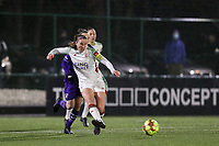 Lenie Onzia (8) of OHL kicks the ball away from Elke Van Gorp  (7) of Anderlecht during a female soccer game between Oud Heverlee Leuven and RSC Anderlecht on the 12 th matchday of the 2020 - 2021 season of Belgian Womens Super League , sunday 31 st of January 2021  in Heverlee , Belgium . PHOTO SPORTPIX.BE | SPP | SEVIL OKTEM