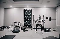 Jolanda Neff (SUI/Trek-Segafredo) doing some early morning squat exercises <br /> <br /> Team Trek-Segafredo women's team<br /> training camp<br /> Mallorca, january 2019<br /> <br /> ©kramon