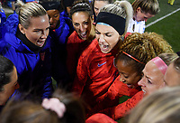 COLUMBUS, OH - NOVEMBER 07: Samantha Mewis #3, Carli Loyd #10, Ashlyn Harris #18 and Julie Ertz #8 of the United States huddle up during a game between Sweden and USWNT at MAPFRE Stadium on November 07, 2019 in Columbus, Ohio.