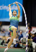 Jeff Hartwig won the pole vault with a mark of 5.80m at the USATF Indoor Championship held at the Reggie Lewis Center, Roxbury,MA. February 24-25, 2007. Photo by Errol Anderson.