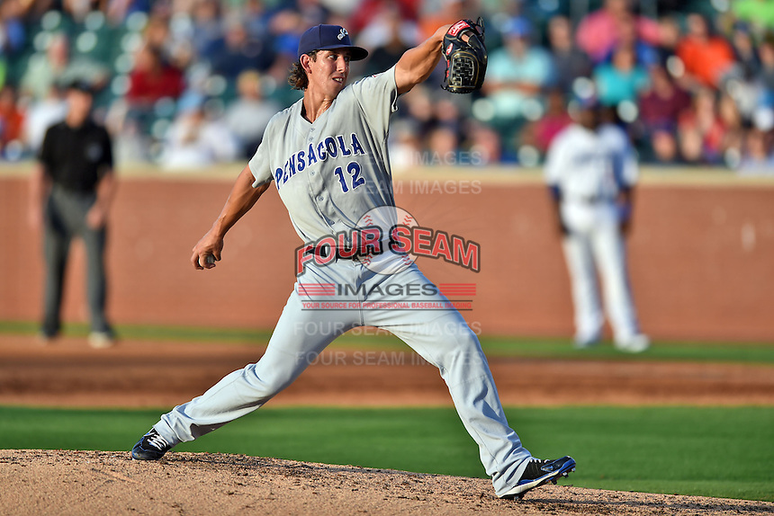 Pensacola Blue Wahoos pitcher Michael Lorenzen #12 delivers a pitch during the Southern League All Star game at AT&T Field on June 17, 2014 in Chattanooga, Tennessee. The Southern Division defeated the Northern Division 6-4. (Tony Farlow/Four Seam Images)