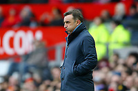 Swansea City manager Carlos Carvalhal puffs out his cheeks during the Premier League match between Manchester United and Swansea City at the Old Trafford, Manchester, England, UK. Saturday 31 March 2018