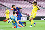 Luis Alberto Suarez Diaz of FC Barcelona (C) fights for the ball with Ximo Navarro Jimenez (R) of UD Las Palmas and Goalkeeper Leandro Chichizola of UD Las Palmas (L)   during the La Liga 2017-18 match between FC Barcelona and Las Palmas at Camp Nou on 01 October 2017 in Barcelona, Spain. (Photo by Vicens Gimenez / Power Sport Images