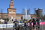 Team Novo Nordisk at sign on before the start of the 112th edition of Milan-San Remo 2021, running 299km from Milan to San Remo, Italy. 20th March 2021. <br /> Photo: LaPresse/Gian Mattia D'Alberto | Cyclefile<br /> <br /> All photos usage must carry mandatory copyright credit (© Cyclefile | LaPresse/Gian Mattia D'Alberto)