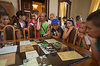 """Romania. Iași County. Iasi. School's pupils during a visit  at the museum """"Vasile Pogor"""", a literary history museum which is part of the Iași Romanian Literature Museum ( Muzeul Literaturii Romane Iasi). Iași (also referred to as Iasi, Jassy or Iassy) is the largest city in eastern Romania and the seat of Iași County. Located in the Moldavia region, Iași has traditionally been one of the leading centres of Romanian social life. The city was the capital of the Principality of Moldavia from 1564 to 1859, then of the United Principalities from 1859 to 1862, and the capital of Romania from 1916 to 1918. 13.06.15 © 2015 Didier Ruef"""