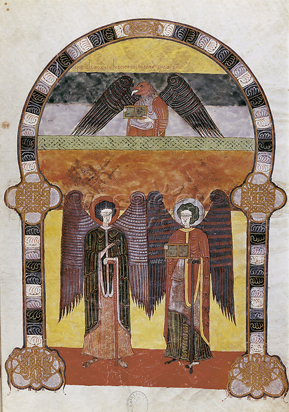 """Beatus of Girona. 976. Sheet 6, depiction of Saint John the Evangelist. Visigothic style copy, finished in 976, from the """"Comm"""
