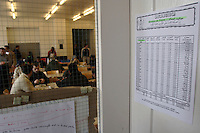 Muslim pray timetable in the library next to the dining room in the Vallorbe registration Centre of the Federal Office for Refugees (CERA)..The CERA of Vallorbe have a capacity of 200 bed and cover. A inside and outside kindergarten, a library within different religious book but a shortage of Koran, a daily visiting cleric, a inside open courtyard for football, 2 dining room who are also Tv and gaming room, 3 copious and equilibrate meal per day are offer to the refugees, an 20 Securitas (private security company) working on 24h a day shift. .High wire netting with barbed wire on the top and video surveillance are all over the building, but all the door of the building are 24h open to exit say the head Securitas.