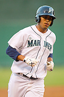 Jose Rivero #58 of the Pulaski Mariners rounds the bases after hitting a home run against the Greeneville Astros at Calfee Park August 29, 2010, in Pulaski, Virginia.  Photo by Brian Westerholt / Four Seam Images