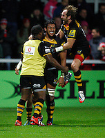 Photo: Richard Lane/Richard Lane Photography. Gloucester Rugby v London Wasps. Aviva Premiership. 02/11/2013 Wasps' Nathan Hughes celebrates his try as Andy Goode jumps in.