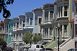ROW of VICTORIAN HOMES UNIQUE for its COLORFUL (Colourful)pastel exteriors, and typically seen in San Francisco, California, USA (5)<br />
