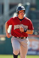 Lehigh Valley IronPigs catcher Erik Kratz #19 during a game against the Buffalo Bisons at Coca-Cola Field on April 19, 2012 in Buffalo, New York.  Lehigh Valley defeated Buffalo 8-4.  (Mike Janes/Four Seam Images)