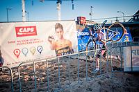race leader Eli Iserbyt (BEL/Pauwels Sauzen-Bingoal) passing by competitor Wout van Aert (BEL/Jumbo-Visma) <br /> <br /> 2020 Urban Cross Kortrijk (BEL)<br /> men's race<br /> <br /> ©kramon