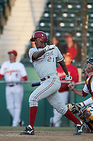 Brian Ragira of the Stanford Cardinal bats against the USC Trojans at Dedeaux Field in Los Angeles,California on April 8, 2011. Photo by Larry Goren/Four Seam Images