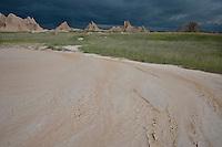 Severe storm approaching the badlands; Badlands National Park, SD