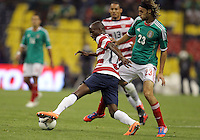 MEXICO CITY, MEXICO - AUGUST 15, 2012:  DaMarcus Beasley (17) of the USA MNT cuts past Edgar Lugo (23) of  Mexico during an international friendly match at Azteca Stadium, in Mexico City, Mexico on August 15. USA won 1-0.