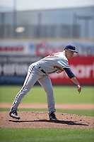 Lancaster JetHawks starting pitcher Matt Dennis (29) follows through on his delivery during a California League game against the San Jose Giants at San Jose Municipal Stadium on May 13, 2018 in San Jose, California. San Jose defeated Lancaster 3-0. (Zachary Lucy/Four Seam Images)