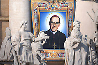 Portraits of  Salvadoran Archbishop Oscar Romero. Pope Francis presides over a canonization ceremony in St Peter's Square at the Vatican, on October 14, 2018. Pope Francis canonizes two of the most important and figures of the 20th-century Catholic Church, declaring Pope Paul VI and the martyred Salvadoran Archbishop Oscar Romero.
