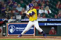Saul Garza (13) of the LSU Tigers gets hit by a pitch during the game against the Oklahoma Sooners in game seven of the 2020 Shriners Hospitals for Children College Classic at Minute Maid Park on March 1, 2020 in Houston, Texas. The Sooners defeated the Tigers 1-0. (Brian Westerholt/Four Seam Images)