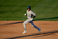 Vermont Lake Monsters left fielder James Terrell (21) runs the bases during a game against the Tri-City ValleyCats on June 16, 2018 at Joseph L. Bruno Stadium in Troy, New York.  Vermont defeated Tri-City 6-2.  (Mike Janes/Four Seam Images)