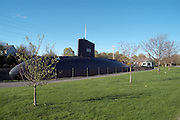 Albacore Park- USS ALBACORE -AGSS-569- Submarine. Located in Portsmouth New Hampshire USA, which is part of the New England seacoast. The Albacore was built in the Portsmouth Navy Yard  and commissioned in December of 1953 then decommissioned in October 1972..