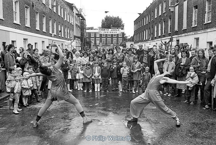 Carol Street Carnival 1980, put on by residents in a row of squatted houses in Camden Town, London, which was later granted short-life status and subsequently became a council-supported housing co-operative.