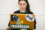 Marissa and her laptop at Powershift in Pittsburgh, PA. USA. (Photo by: Robert van Waarden)