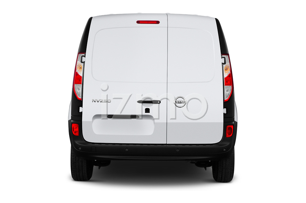 Straight rear view of 2020 Nissan NV250 Visia 5 Door Car Van Rear View  stock images
