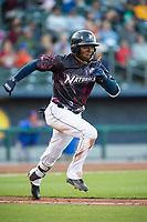 Northwest Arkansas Naturals infielder D.J. Burt (1) runs to first base on May 4, 2019, at Arvest Ballpark in Springdale, Arkansas. (Jason Ivester/Four Seam Images)