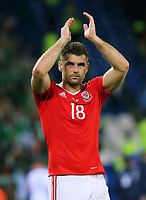 Sam Vokes of Wales applauds home supporters during the FIFA World Cup Qualifier Group D match between Wales and Republic of Ireland at The Cardiff City Stadium, Wales, UK. Monday 09 October 2017