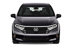 Car photography straight front view of a 2021 Honda Odyssey LX 5 Door Minivan Front View