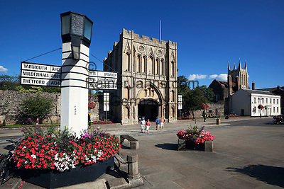 Great Britain, England, Suffolk, Bury St Edmunds: Angel Hill and the Abbeygate with St Edmundsbury Cathedral