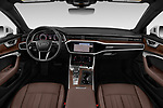 Stock photo of straight dashboard view of 2019 Audi A6 S-Line 4 Door Sedan Dashboard