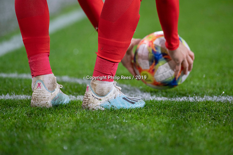 """Cardiff - UK - 9th September :<br />Wales v Belarus Friendly match at Cardiff City Stadium.<br />Harry Wilson prepares to take a corner. The boots have """"Wilson"""" written on them.<br />Editorial use only"""