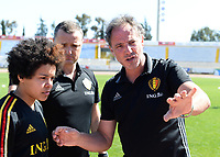 20180228 - LARNACA , CYPRUS :  Belgian Kassandra Missipo (left) , Head Coach Ives Serneels and assistant coach Kris Van Der Haegen (right) pictured discussing before a women's soccer game between The Belgian Red Flames and the Czech Republic , on wednesday 28 February 2018 at GSZ Stadium in Larnaca , Cyprus . This is the first game in group B for Belgium during the Cyprus Womens Cup , a prestigious women soccer tournament as a preparation on the World Cup 2019 qualification duels. PHOTO SPORTPIX.BE   DAVID CATRY