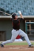 Bryson Smith #7 of the Bakersfield Blaze bats against the Lancaster JetHawks at Clear Channel Stadium on May 7, 2012 in Lancaster,California. (Larry Goren/Four Seam Images)