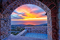 The sunset from the medieval mastic village of Avgonyma on the island of Chios, Greece