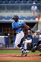 Charlotte Stone Crabs right fielder Manny Sanchez (17) follows through on a swing during a game against the Lakeland Flying Tigers on April 16, 2017 at Charlotte Sports Park in Port Charlotte, Florida.  Lakeland defeated Charlotte 4-2.  (Mike Janes/Four Seam Images)