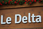 TOUR DE FRANCE 2021- UCI Cycling World Tour under Virus Outbreak. Stage 8th from Oyonnax to Le Grand Bornand on the 3rd of July 2021, Le Grand Bornand, France.   <br /> A post of an hotel written 'Le Delta' is seen close to the finish area. Delta SARS-CoV-2 virus variant could be the nightmare of summer events and hollidays in Europe.